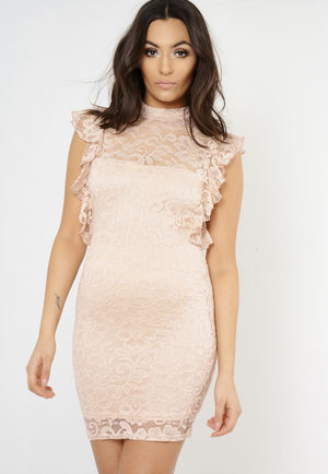 Gia Pink Lace High Neck Mini Dress