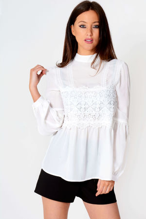 Andrea White Mid Lace Detail Blouse