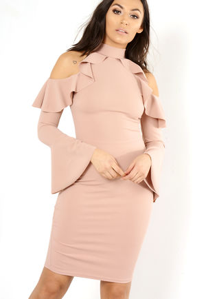 Dali Pink Frill Bodycon Dress