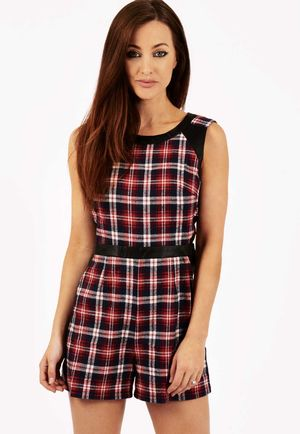 Zakira Tartan Print PU Panel Playsuit
