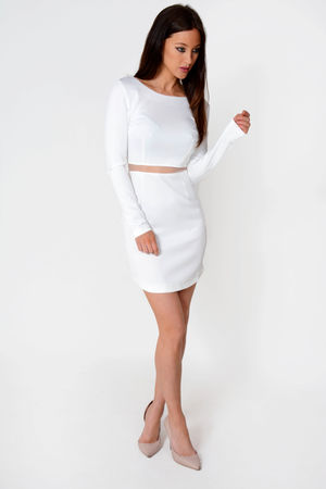 Jose White Mesh Waist Long Sleeve Dress