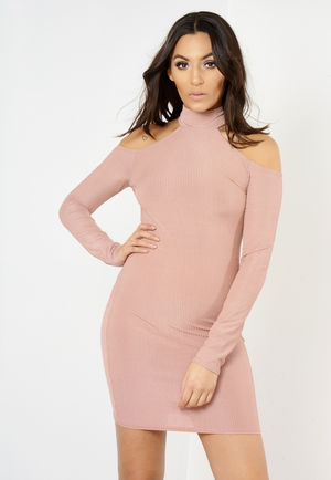 Yasmin Pink Cold Shoulder Ribbed Mini Dress