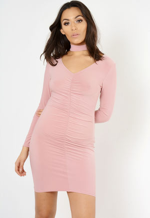 Perrie Nude Ruched Choker Neck Mini Dress