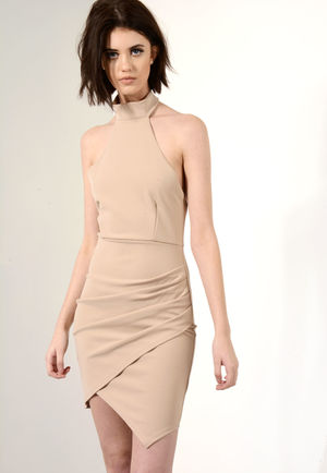 Asymmetric High Neck Dress Stone