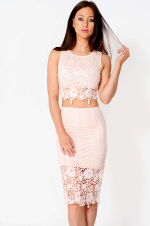 Chelsea Nude Floral Lace Co-Ord Set