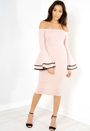 Memmi Pink Bell Sleeve Bardot Midi Dress