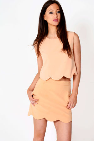 Clare Camel Scallop Two Piece Set