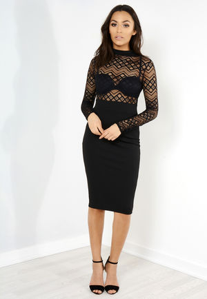 Nancy Black Lace Midi Dress