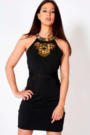 Hollie Black Gold Embellished Detail Ribbed Dress