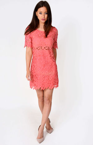 Nasey Floral Net Shift Mini Dress Pink