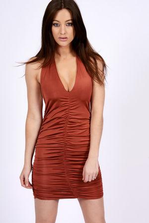 Slinky Ruched Halter Neck Dress Rust