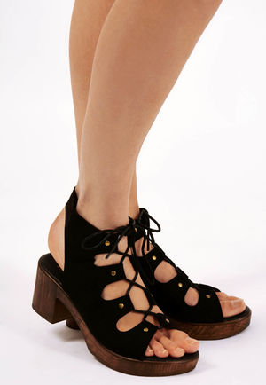 Dale Black Cut Out Lace Up Sandals
