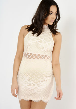 Beth Nude Lace Bodycon Dress