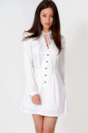 Sindy White Tie Up Shirt Dress
