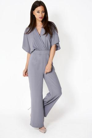 Melissa Grey Front Wrap Jumpsuit
