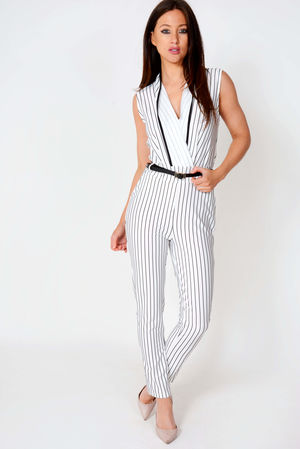 MIchelle Belted Pinstripe Crossover Jumpsuit