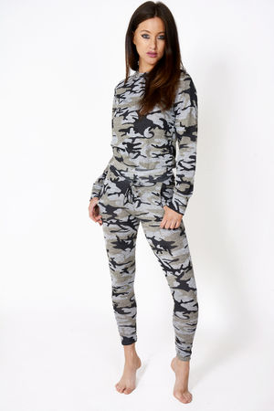 Jenna Camo Print Loungewear Set Grey/Khaki