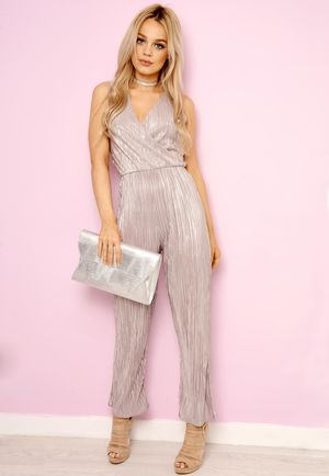 Wrap Front Pleated Sleeveless Jumpsuit