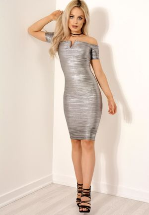 Silver Metallic Pleated Bardot Dress