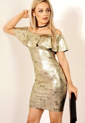 Frill Bardot Metallic Dress Gold