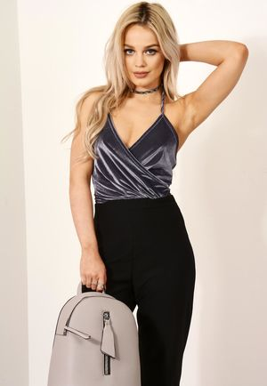 Velvet Ribbed Cami Bodysuit Grey