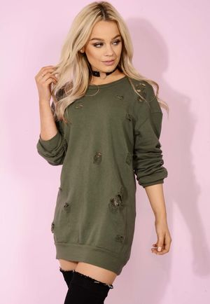 Dusty Khaki Distressed Jumper Dress