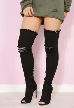 Black Denim Over The Knee Boots