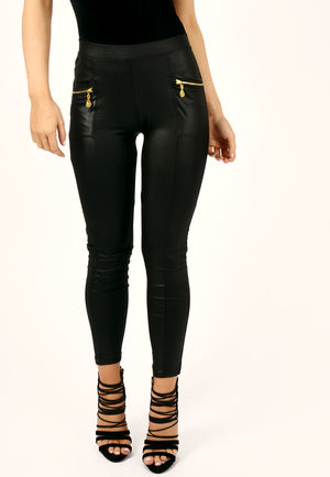 Milly Black PU High Waisted Trousers