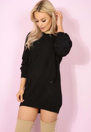 Dusty Black Distressed Jumper Dress