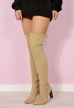 Gigi Nude Sock Thigh High Boots