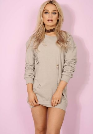 Dusty Beige Distressed Jumper Dress