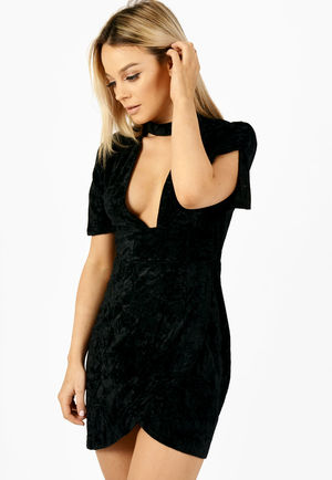 Crushed Velvet Cut Out Choker Neck Dress Black