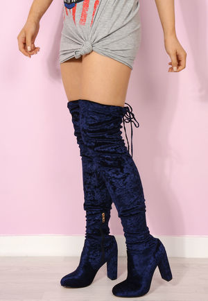 Kourtney Navy Velvet Crush Thigh High Boots