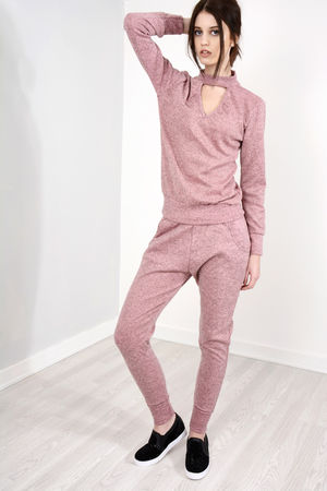 Bella Pink Choker Neck Loungewear Set