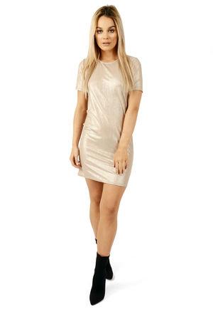 Metallic T-shirt Dress Champagne