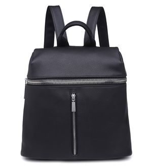 Casi Black Faux Leather Backpack