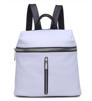Casi White Faux Leather Backpack