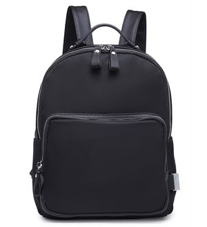Viola Black Nylon Backpack with Faux Leather Detail