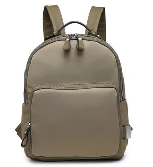 Viola Khaki Nylon Backpack with Faux Leather Detail