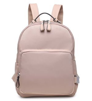 Viola Nude Nylon Backpack with Faux Leather Detail