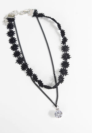 Layered Floral Crystal Round Stone Choker