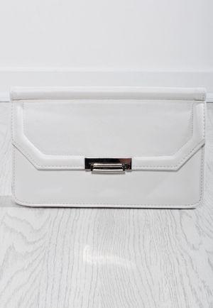 Vera White Metallic Clasp Clutch Bag
