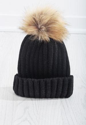 Black Knit Beige PomPom Hat