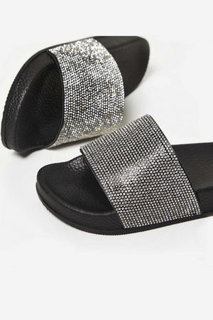 Stella Silver Diamante Slider In Black Rubber