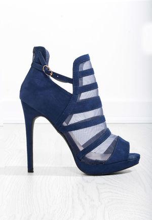 Rihni Blue Mesh High Heels