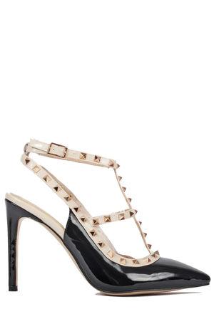 Viola Black/Beige Patent Pointed Toe Studded Heels