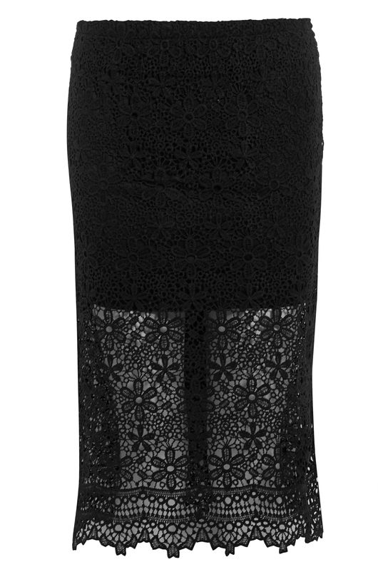 Sam Lace Bodycon Midi Skirt Black