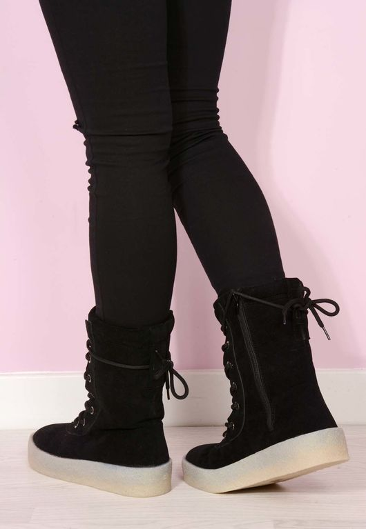 Carli Crepe Suede Boots Black