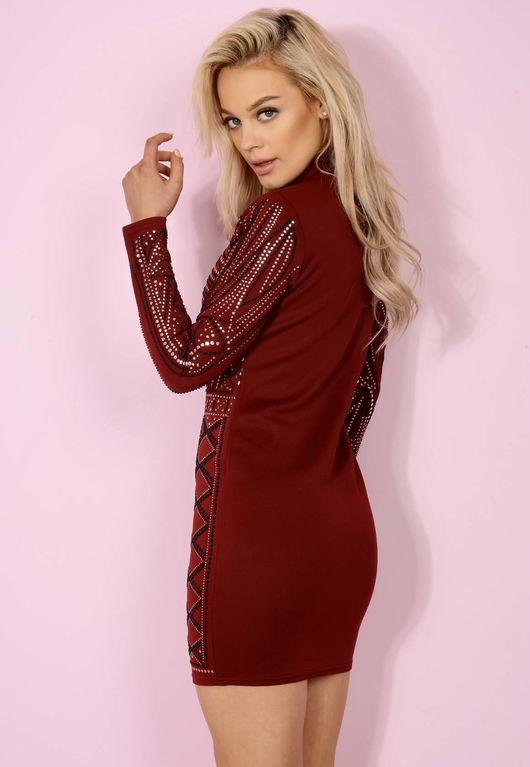 Wine Embellished High-neck Bodycon Dress