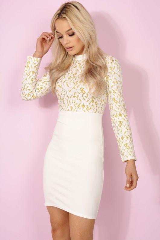 White & Gold Wonderland Lace Embellished Bodycon